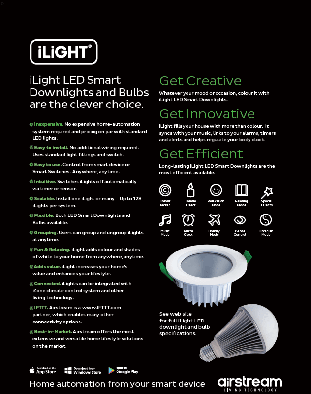 ilight LED smart downlights and bulbs